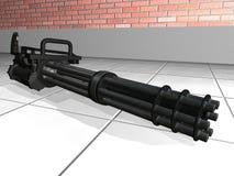 Minigun op de vloer Stock Foto's