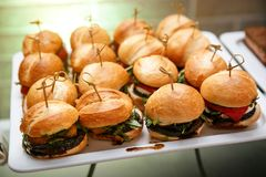 Minihamburger canape selectie op leischotel royalty-vrije stock foto