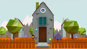 Minihaus und Nachbarschaft Stockfotografie