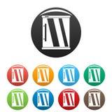 Miniijskastpictogrammen geplaatst kleur royalty-vrije illustratie