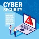 Minileute mit Laptop angesteckt und Internetsicherheit stock abbildung