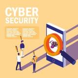 Minileute mit Smartphone angesteckt und Internetsicherheit stock abbildung