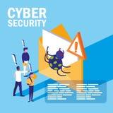 Minileute mit Umschlag angesteckt und Internetsicherheit lizenzfreie abbildung