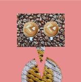 Minimaal coffe menselijk abstract art. Stock Afbeeldingen