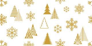 Minimaal gouden Kerstmispatroon stock illustratie