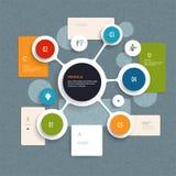 Minimaal Infographics-elementenontwerp Abstract cirkels en vierkanten infographic malplaatje met plaats voor uw inhoud Stock Afbeelding