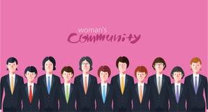 Minimaal vlak karakter van de illustraties van het bedrijfsvrouwenconcept Stock Foto