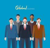 Minimaal vlak karakter van globale bedrijfsconceptenillustraties Royalty-vrije Stock Afbeelding