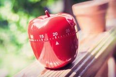 Minimal äggklocka för kök 20 i det Apple Shape anseendet på en ledstång Royaltyfria Bilder