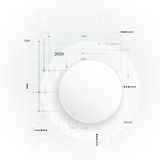 Minimal Abstract 3d white paper circle on circuit board vector illustration
