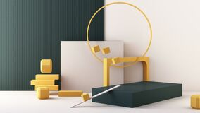 Minimal abstract geometric background with direct sunlight in shades of green and yellow