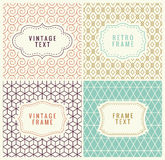 Minimal Background. Retro Mono Line Frames with place for Text. Vector Design Template, Labels, Badges on Seamless. Minimal Pattern Background. Retro Mono Line Royalty Free Stock Images