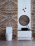 The minimal bathroom interior design and brick wall pattern background and sea view. 3d rendering interior design of bathroom Royalty Free Stock Photos