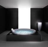 Minimal bathroom with jacuzzi bathtub. Minimal black white bathroom with jacuzzi bathtub royalty free illustration