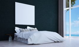 The minimal bedroom interior design and wall pattern background and sea view. 3d rendering interior design of bedroom Royalty Free Stock Images