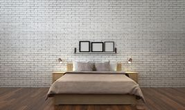 The minimal bedroom interior design and white brick wall pattern background. 3d rendering interior design of bedroom Royalty Free Stock Photography