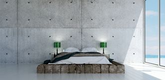 The minimal bedroom interior design and wood wall pattern background Stock Image
