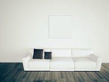 Minimal blank interior couch. Modern comfortable interior, 3d image Stock Photos
