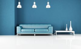 Minimal blue living-room Stock Images