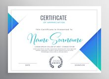 Minimal blue triangle certificate template design royalty free illustration
