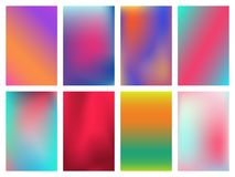 Minimal bright vivid gradient covers design. Colorful halftone gradients. Abstract vector design for invitation. Greeting card, flyer, banner Royalty Free Stock Images