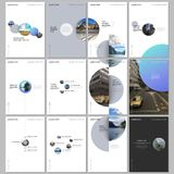 Minimal brochure templates with colorful gradient shapes, circles, round elements on white background. Covers design. Templates for flyer, leaflet, brochure stock illustration