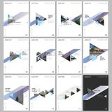 Minimal brochure templates with colorful gradient trangles and triangular shapes on white background. Covers design. Templates for flyer, leaflet, brochure stock illustration