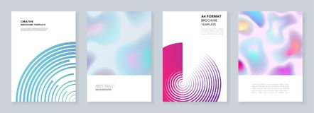 Minimal brochure templates with dynamic fluid shapes, colorful circles in minimalistic style. Templates for flyer, brochure. Minimal brochure templates with Royalty Free Stock Photos