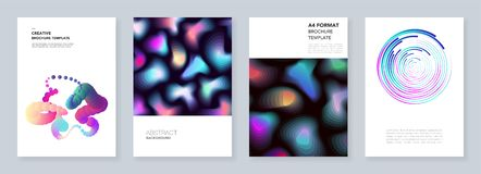 Minimal brochure templates with dynamic fluid shapes, colorful circles in minimalistic style. Templates for flyer royalty free illustration