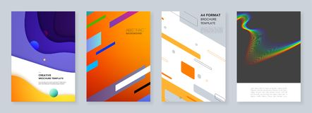 Minimal brochure templates with geometric colorful patterns, gradients, fluid shapes in minimalistic style. Templates for flyer, leaflet, brochure, report Royalty Free Stock Photo