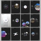 Minimal brochure templates with hexagons and hexagonal elements on black background. Covers design templates for flyer. Leaflet, brochure, report, presentation stock illustration