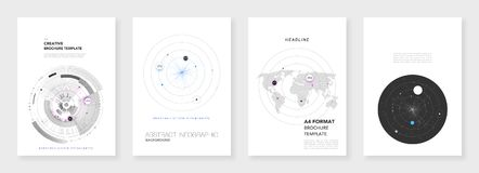 Minimal brochure templates. Infographic elements on white background. Technology sci-fi concept, abstract vector design. vector illustration