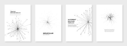 Minimal brochure templates. Molecule models. On white background. Technology sci-fi or medical concept, abstract vector design. Templates for flyer, leaflet Stock Images