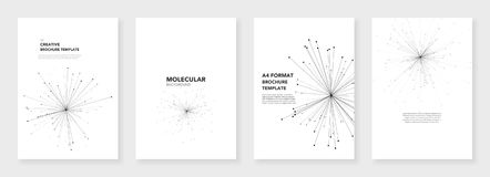 Minimal brochure templates. Molecule models. On white background. Technology sci-fi or medical concept, abstract vector design Stock Image