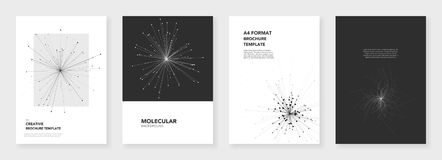 Minimal brochure templates. Molecule models. On white background. Technology sci-fi or medical concept, abstract vector design. Templates for flyer, leaflet Royalty Free Stock Image