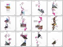 Minimal brochure templates with triangles, triangular shapes, polygons. Covers design templates for square flyer. Leaflet, brochure, report, presentation, blog vector illustration