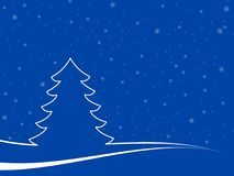 Minimal christmas landscape. Abstract christmas tree in a minimal landscape with snowflakes. christmas illustration with blu background and white shapes Royalty Free Stock Photography
