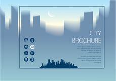 Minimal city traveling tourist information. Horizontal A4 brochu. Re, flyer, cover, poster or guidebook template. Vector modern illustration Royalty Free Stock Images