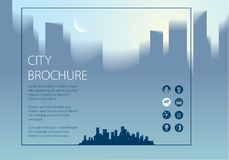 Minimal city traveling tourist information. Horizontal A4 brochu. Re, flyer, cover, poster or guidebook template. Vector modern illustration Stock Images