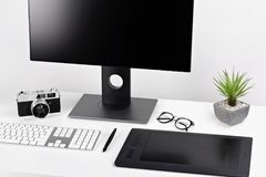 Minimal clear white workspace royalty free stock image