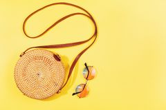 Minimal composition of a bamboo bag stock images