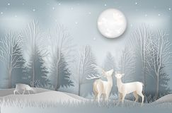 Minimal concept of winter season and Christmas day Deer under th stock photography