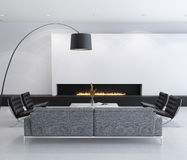 Minimal contemporary gas fireplace interior, living room Royalty Free Stock Photos