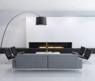 Minimal contemporary gas fireplace interior, living room stock illustration