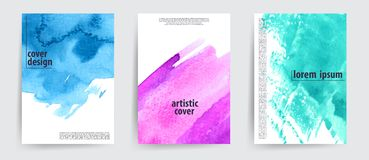 Minimal covers design. Cool artistic backgrounds with watercolor look stains. Artistic card set. vector illustration