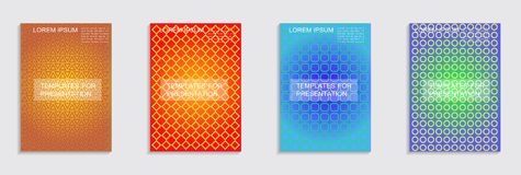 Minimal covers design. Cool halftone gradients. Vector. Vector journal design geometric shape background set, halftone lines hipster pattern abstract covers vector illustration