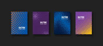 Minimal covers design. Geometric patterns set. Minimalistic identity template. Colorful halftone gradients. Vector illustration.  Royalty Free Stock Photos