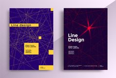 Minimal covers design. Minimal line covers design. Poster with dotted geometric pattern. Vector template flyers Stock Photography
