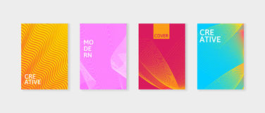Minimal covers design set. Simple shapes with trendy gradients. Covers with geometric lines. Applicable for Banners Stock Image