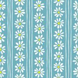 Minimal cute hand-painted daisies and stripes on teal background vector seamless patters. Spring summer floral print vector illustration